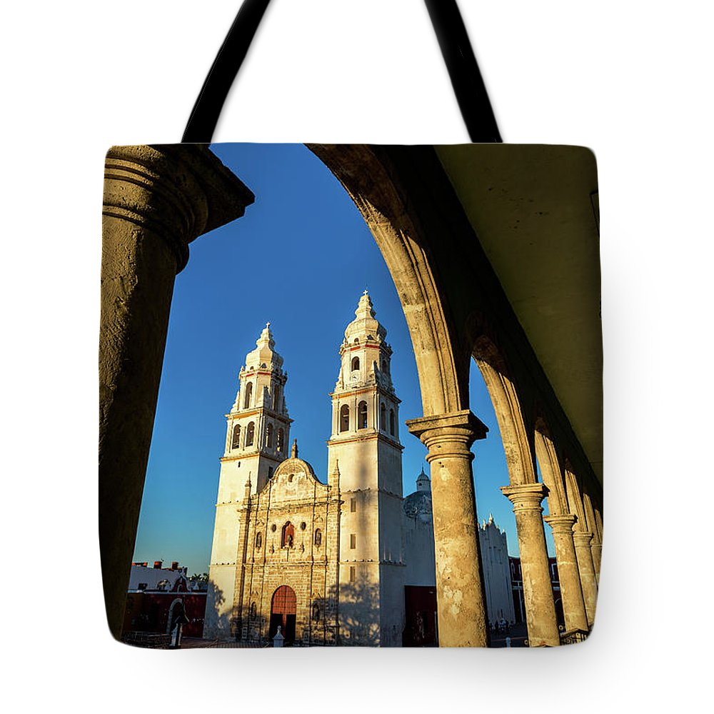 Campeche Tote Bag featuring the photograph View Of Cathedral And Arches by Jess Kraft