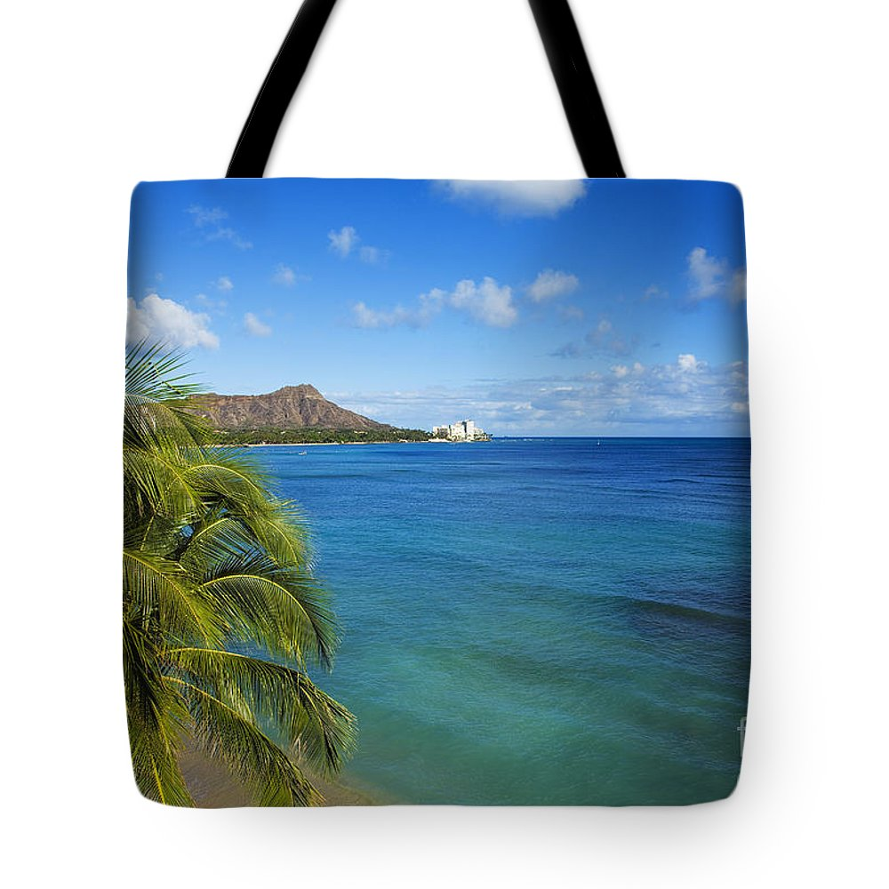 Abraham Tote Bag featuring the photograph View Of Diamond Head by Dana Edmunds - Printscapes