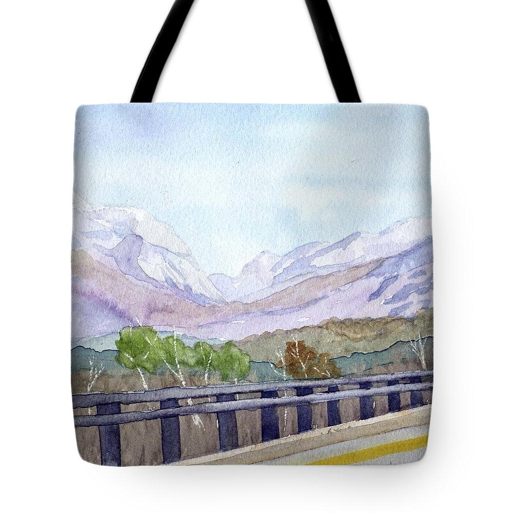 Franconia Notch Tote Bag featuring the painting View Of Franconia Notch by Sharon E Allen