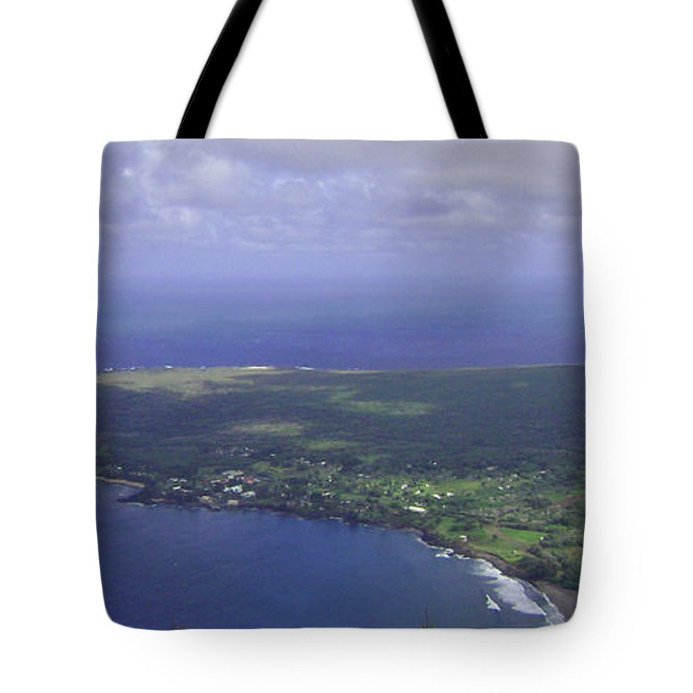 Molokai Tote Bag featuring the photograph View Of Kaulapapa by Terry Holliday