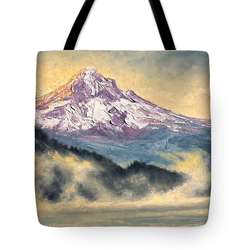 Lanscape Tote Bag featuring the painting View Of Mt Hood by Jim Gola
