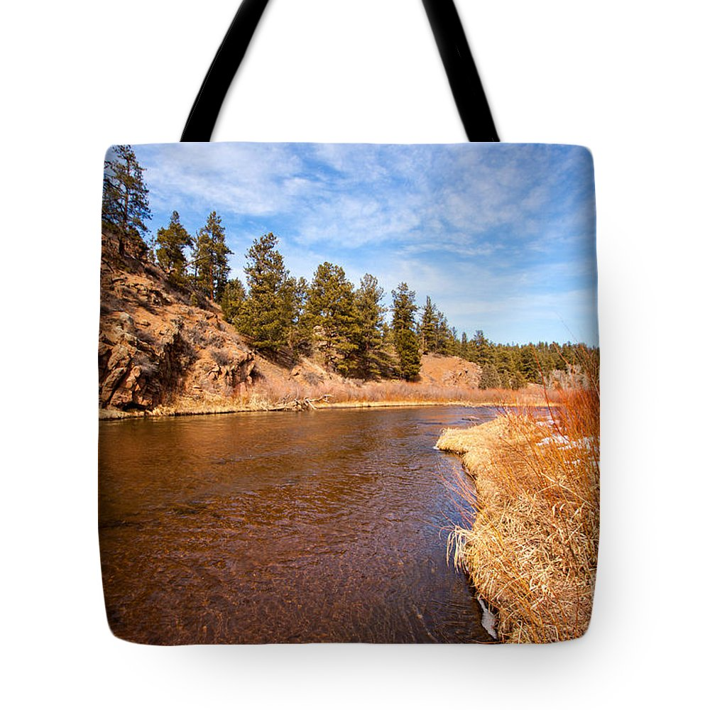 River Tote Bag featuring the photograph View Of River Around The Bend by Greg Plamp
