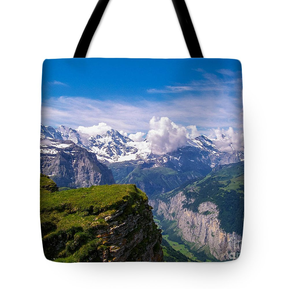Eiger Tote Bag featuring the photograph View Of The Swiss Alps by Greg Plamp