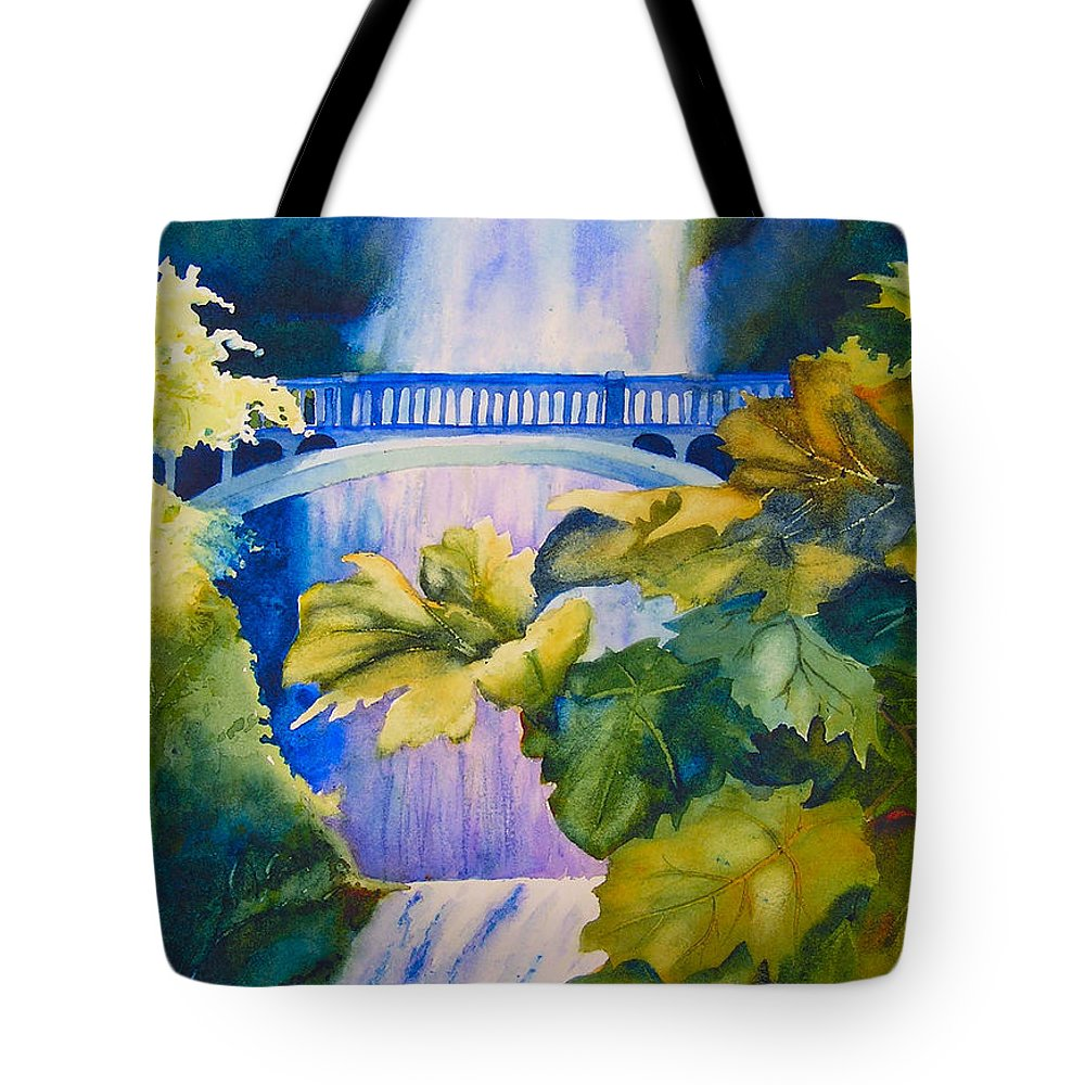 Waterfall Tote Bag featuring the painting View Of The Bridge by Karen Stark