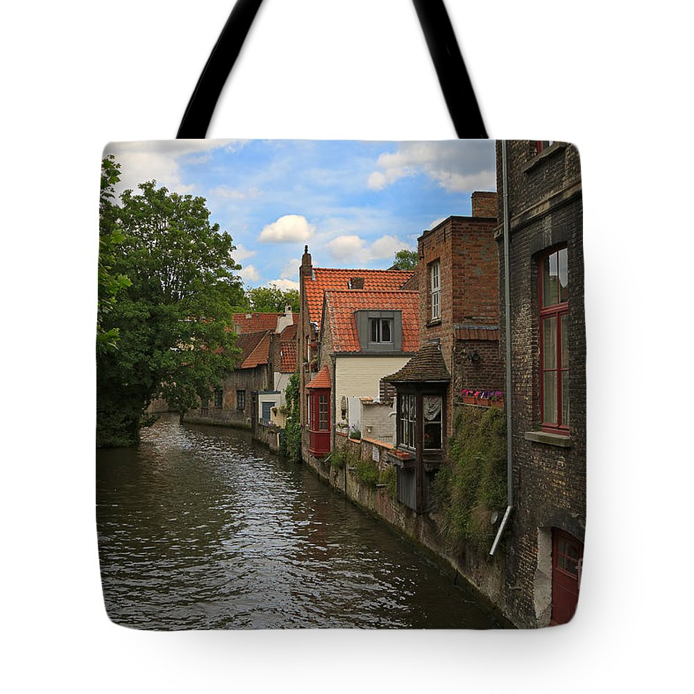Canal Tote Bag featuring the photograph View Of The Canal From Maria Brug On Katelijnestraat In Bruges by Louise Heusinkveld
