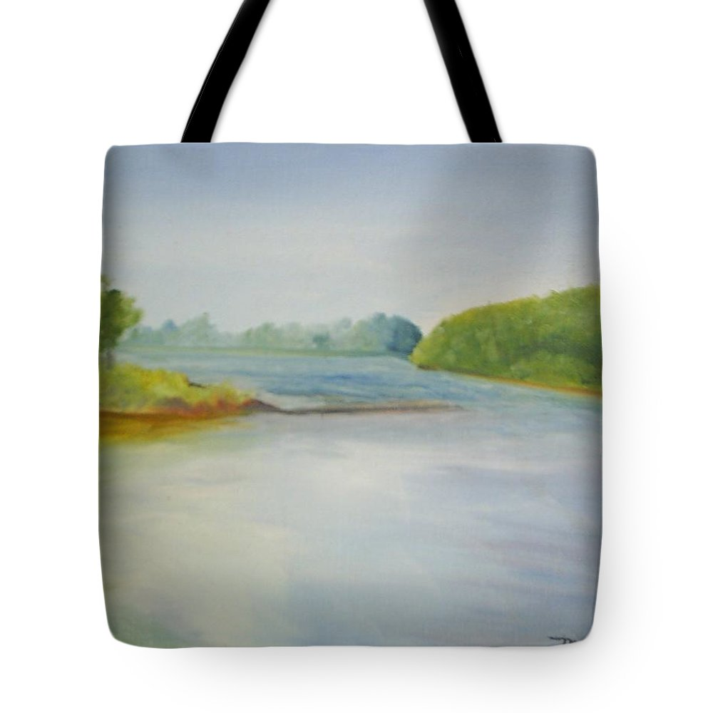 Delaware River Tote Bag featuring the painting View Of The Delaware by Sheila Mashaw