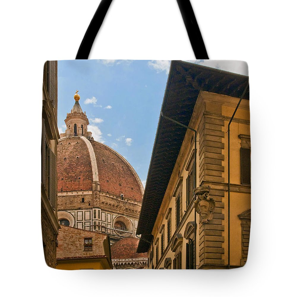 Florence Tote Bag featuring the photograph View Of The Duomo by Mick Burkey