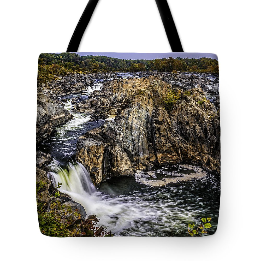 America Tote Bag featuring the photograph View Of The Great Falls by Nick Zelinsky