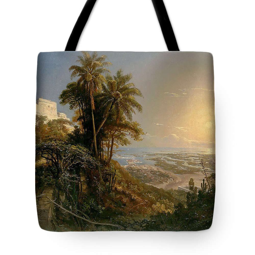 Ferdinand Konrad Bellermann Tote Bag featuring the painting View Of The Harbor Of Puerto Cabello, Study by Ferdinand Konrad Bellermann