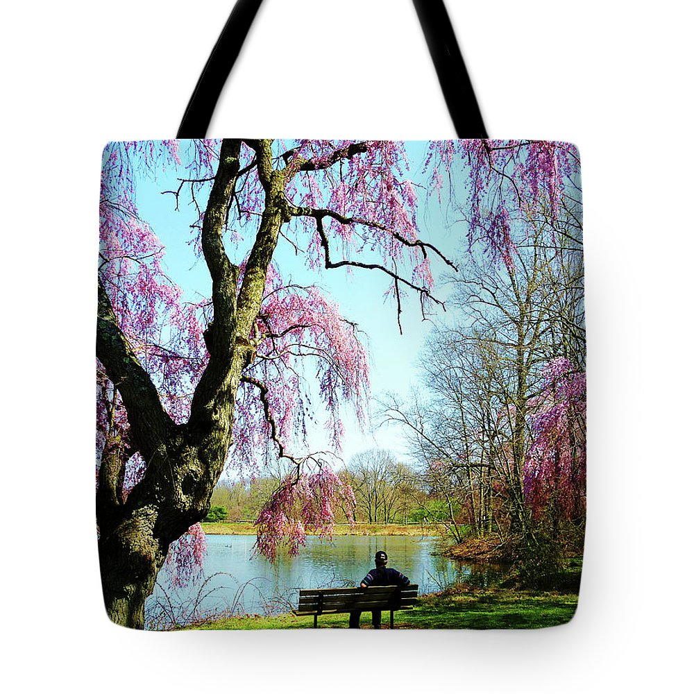 Spring Tote Bag featuring the photograph View Of The Lake In Spring by Susan Savad