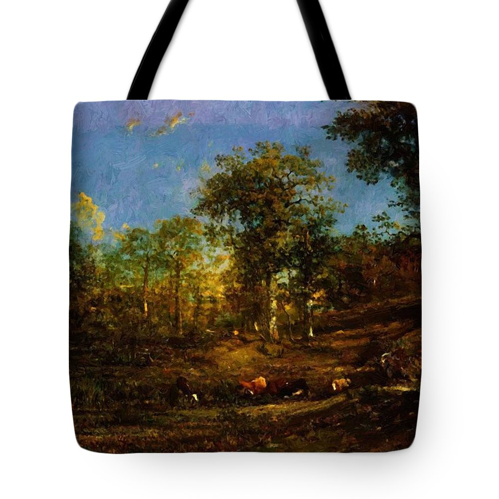 View Tote Bag featuring the painting View Of The Pastures Of The Limousin 1835 by Dupre Jules