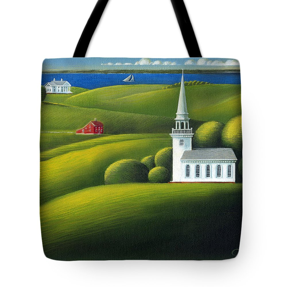 Deecken Tote Bag featuring the painting View Of The Sound by John Deecken