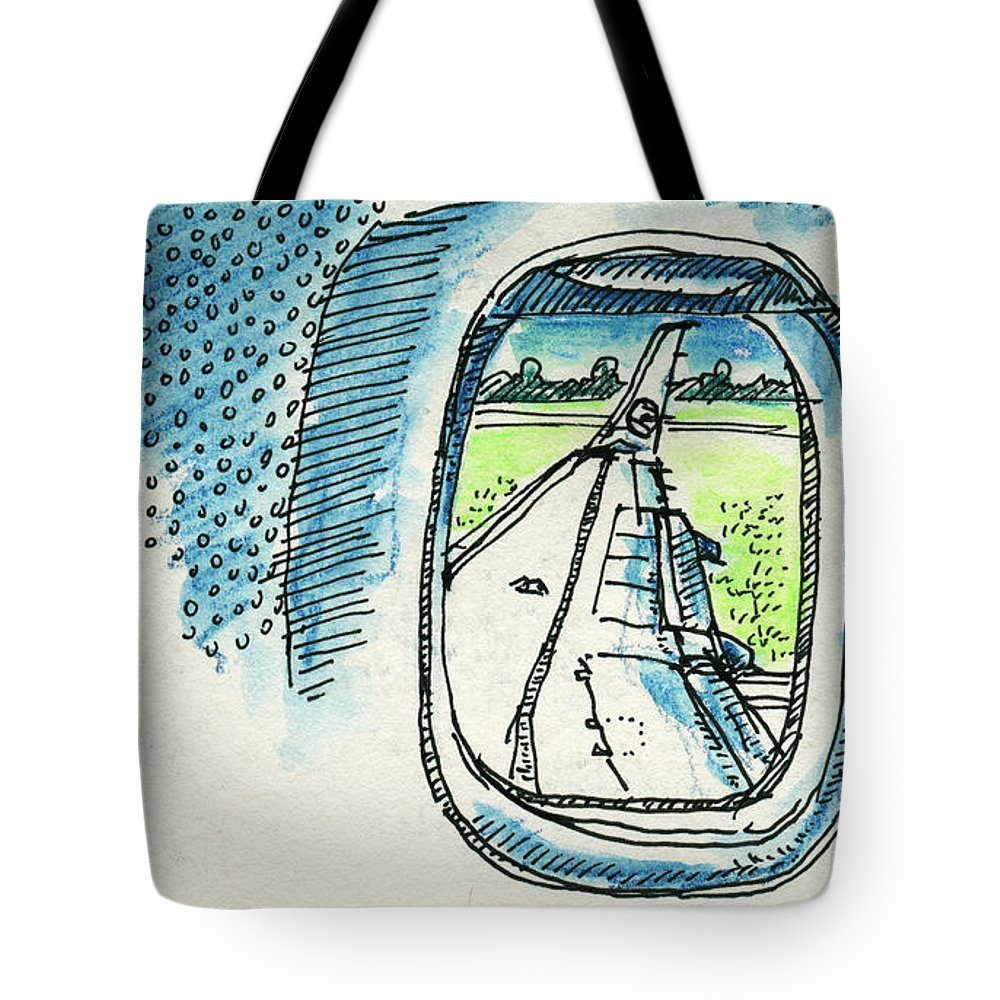 View Out Of Airplane Window Drawing Tote Bag For Sale By Frank