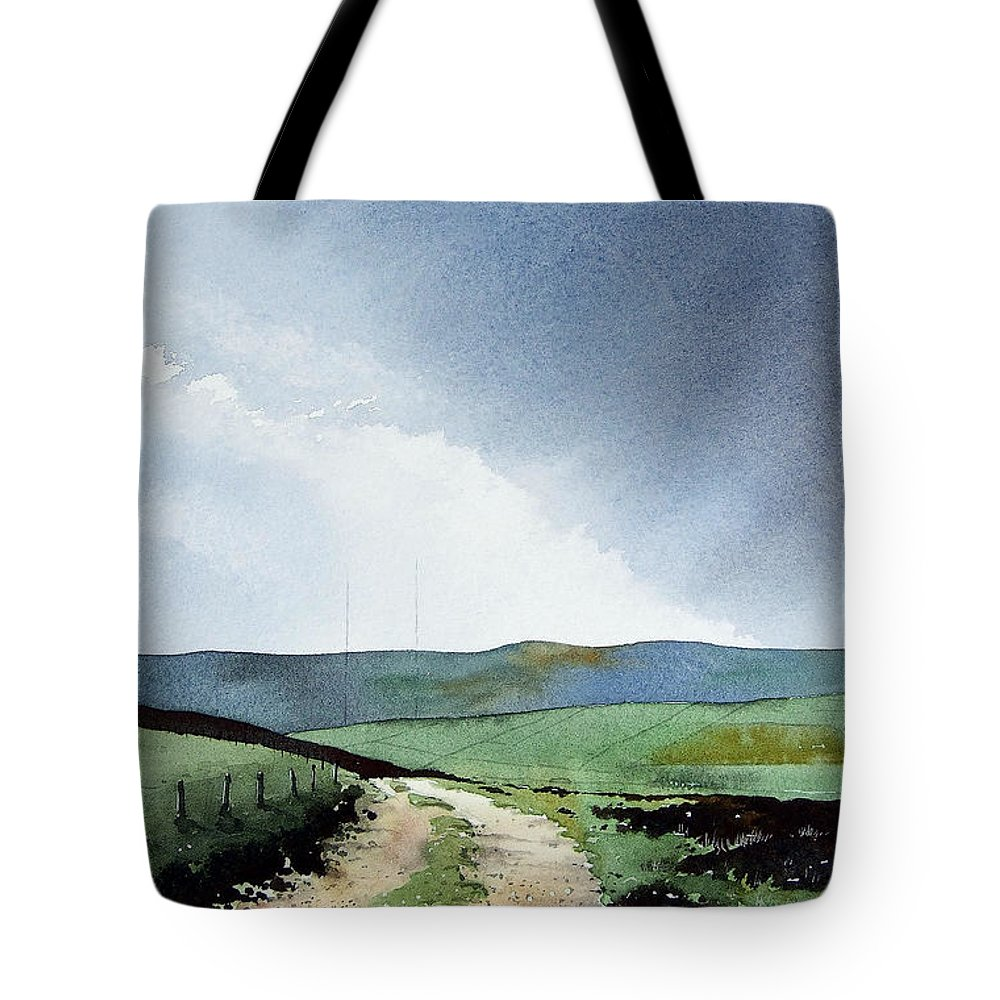 Landscape Tote Bag featuring the painting View Over Pole Moor by Paul Dene Marlor