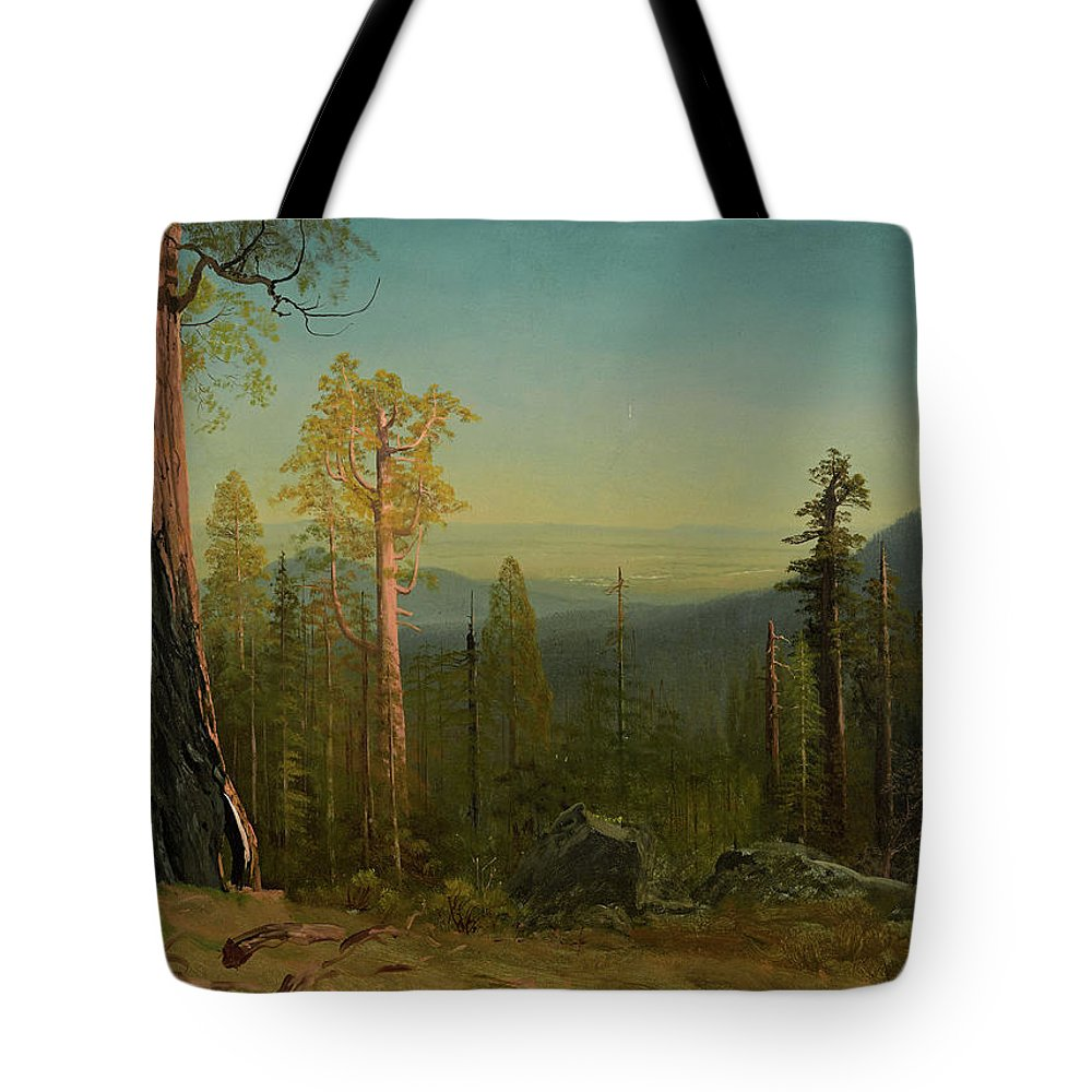 Albert Bierstadt Tote Bag featuring the painting View Through The Trees by Albert Bierstadt