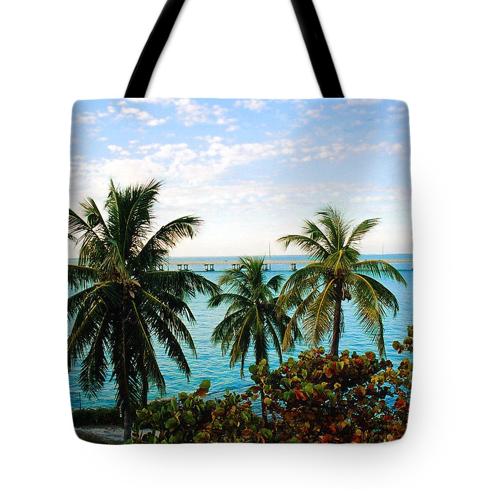 Tropical Tote Bag featuring the photograph View To The 7 Mile Bridge by Susanne Van Hulst