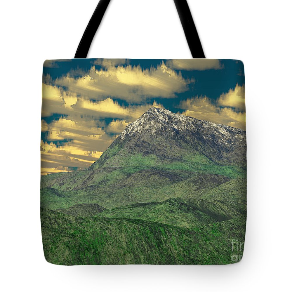 Digital Art Tote Bag featuring the digital art View To The Mountain by Gaspar Avila