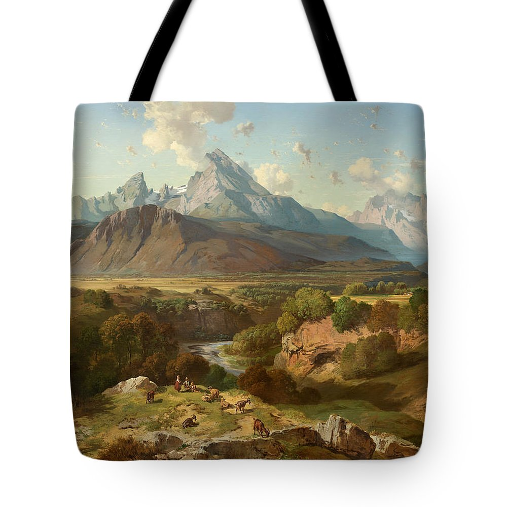 Landscape Tote Bag featuring the painting View To Watzmann And Hochkalter by Celestial Images