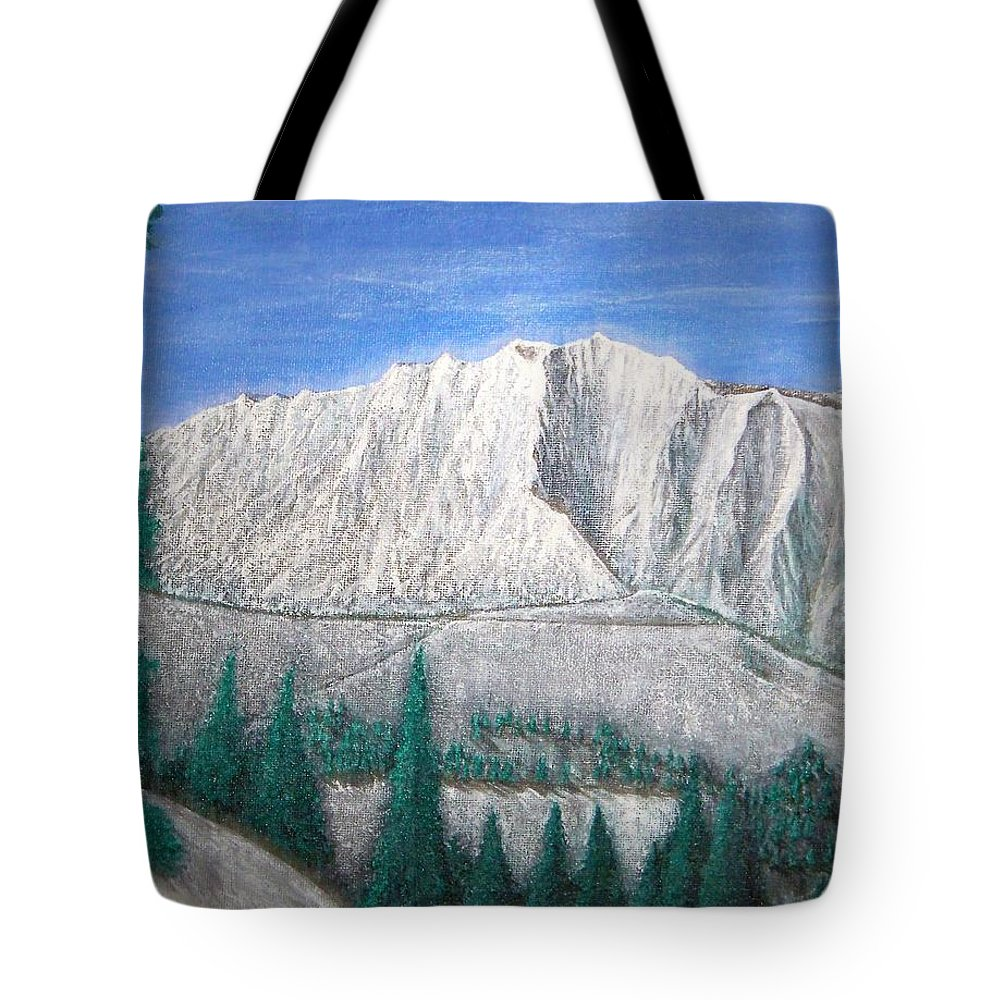 Snow Tote Bag featuring the painting Viewfrom Spruces by Michael Cuozzo