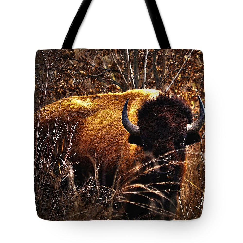 Bison Tote Bag featuring the photograph Vigilance... by Thomas Gorman