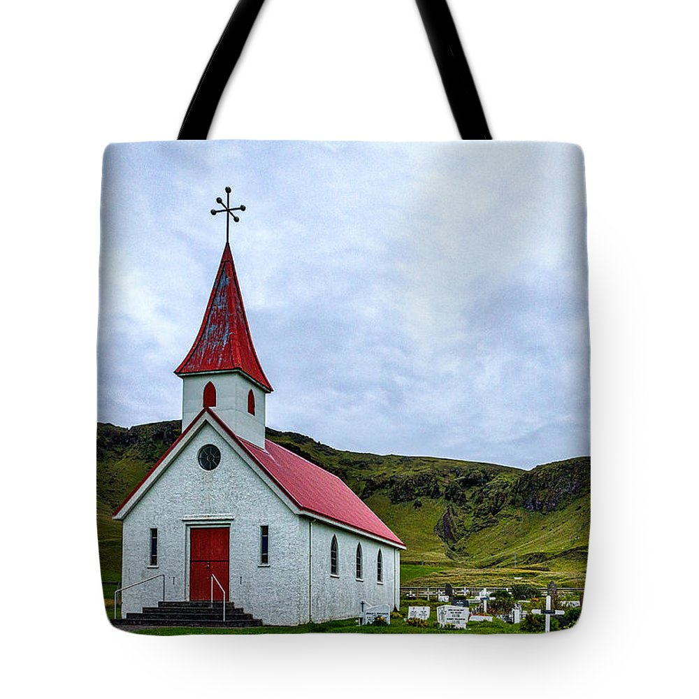 Church Tote Bag featuring the photograph Vik Church And Cemetery - Iceland by Stuart Litoff