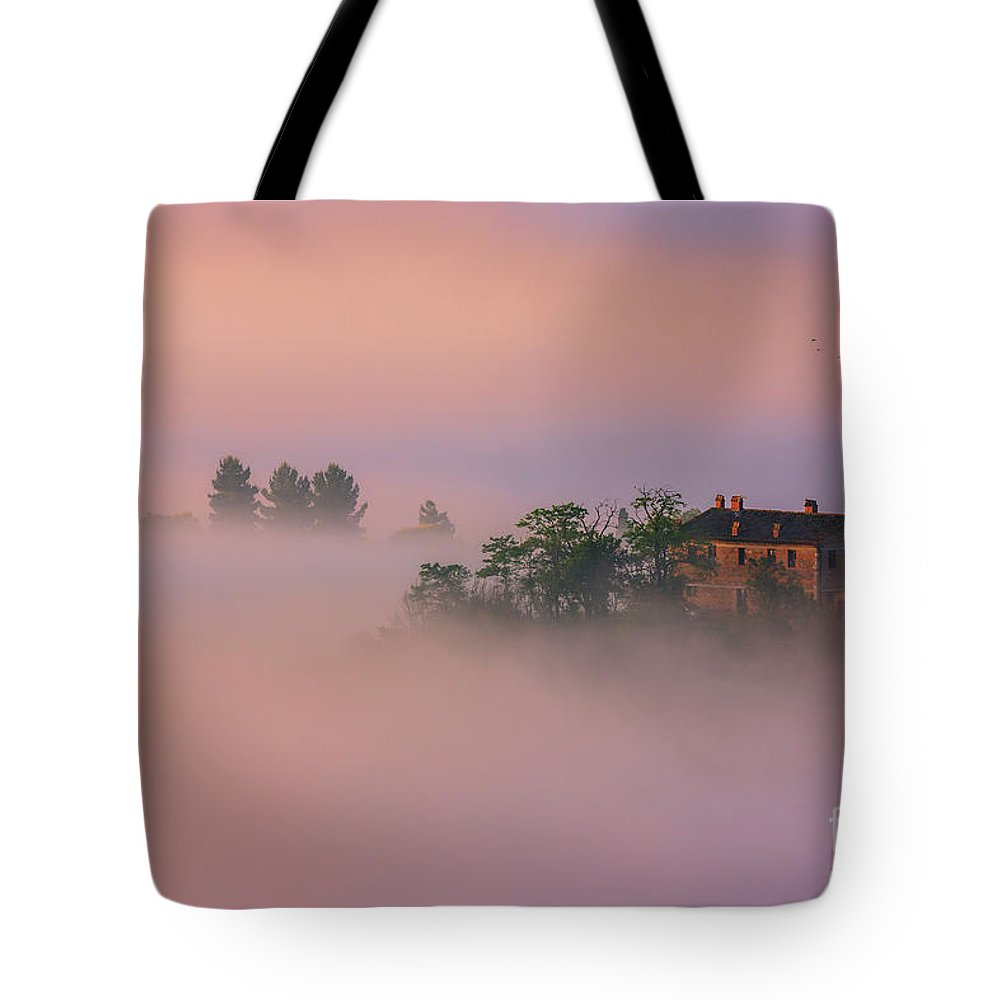Italy Tote Bag featuring the photograph Villa In The Mist - Italy by Henk Meijer Photography
