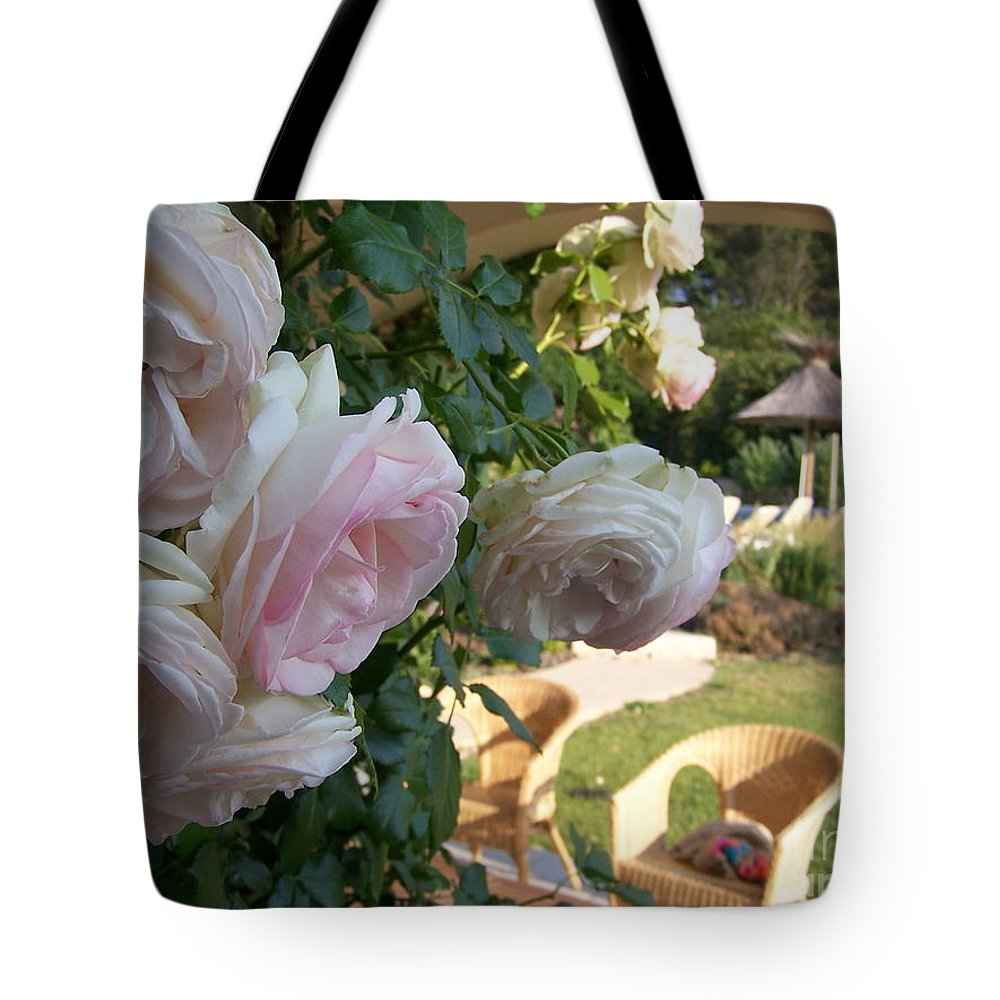 Roses Tote Bag featuring the photograph Villa Roses by Nadine Rippelmeyer