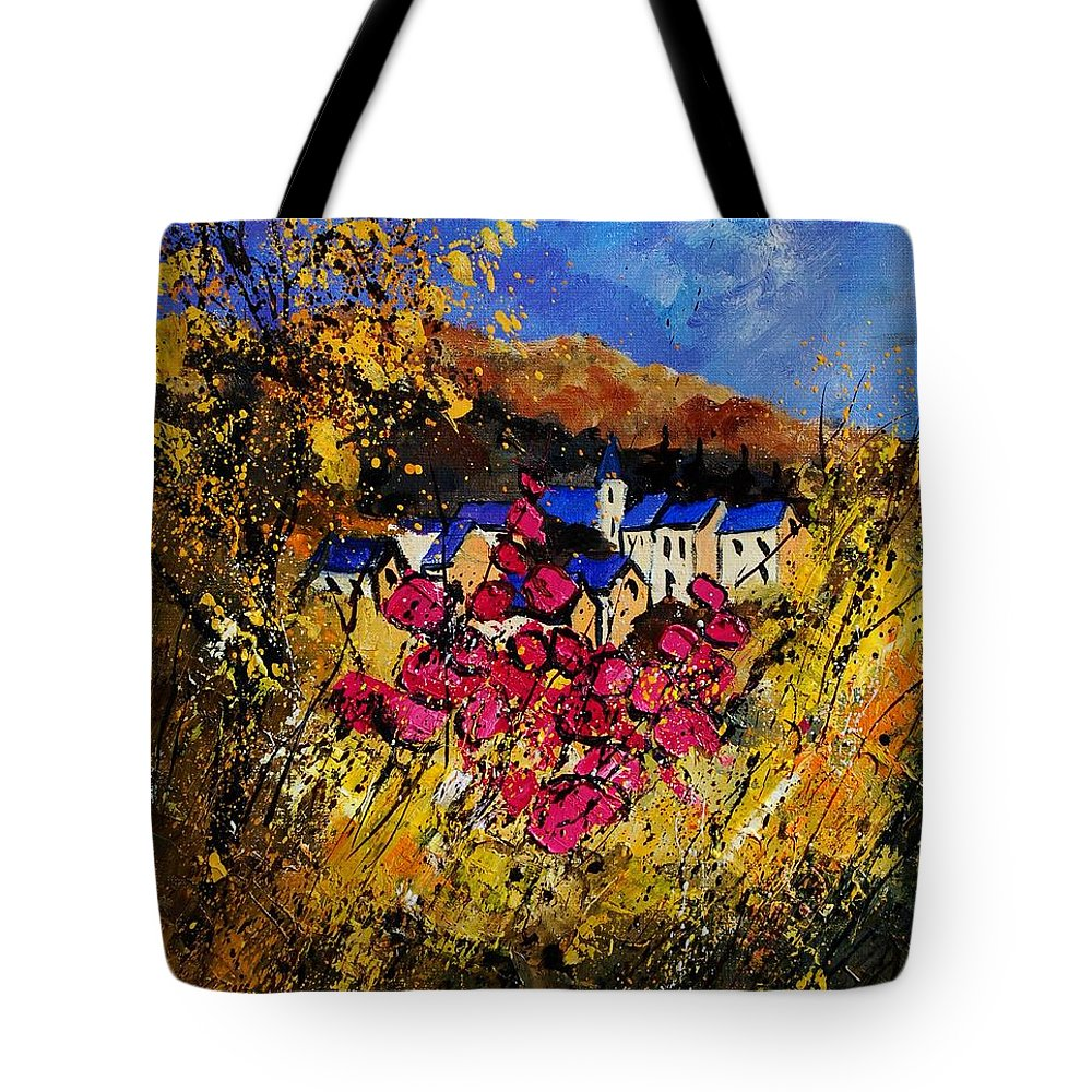 Flowers Tote Bag featuring the painting Village 450808 by Pol Ledent