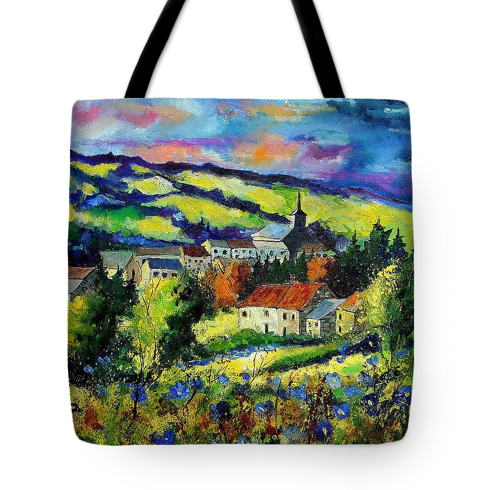 Landscape Tote Bag featuring the painting Village And Blue Poppies by Pol Ledent