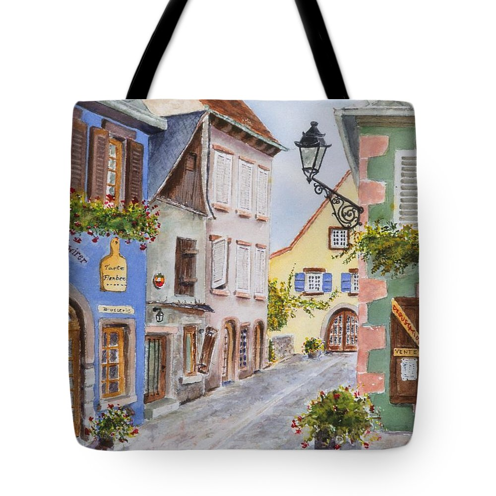 Village Tote Bag featuring the painting Village In Alsace by Mary Ellen Mueller Legault
