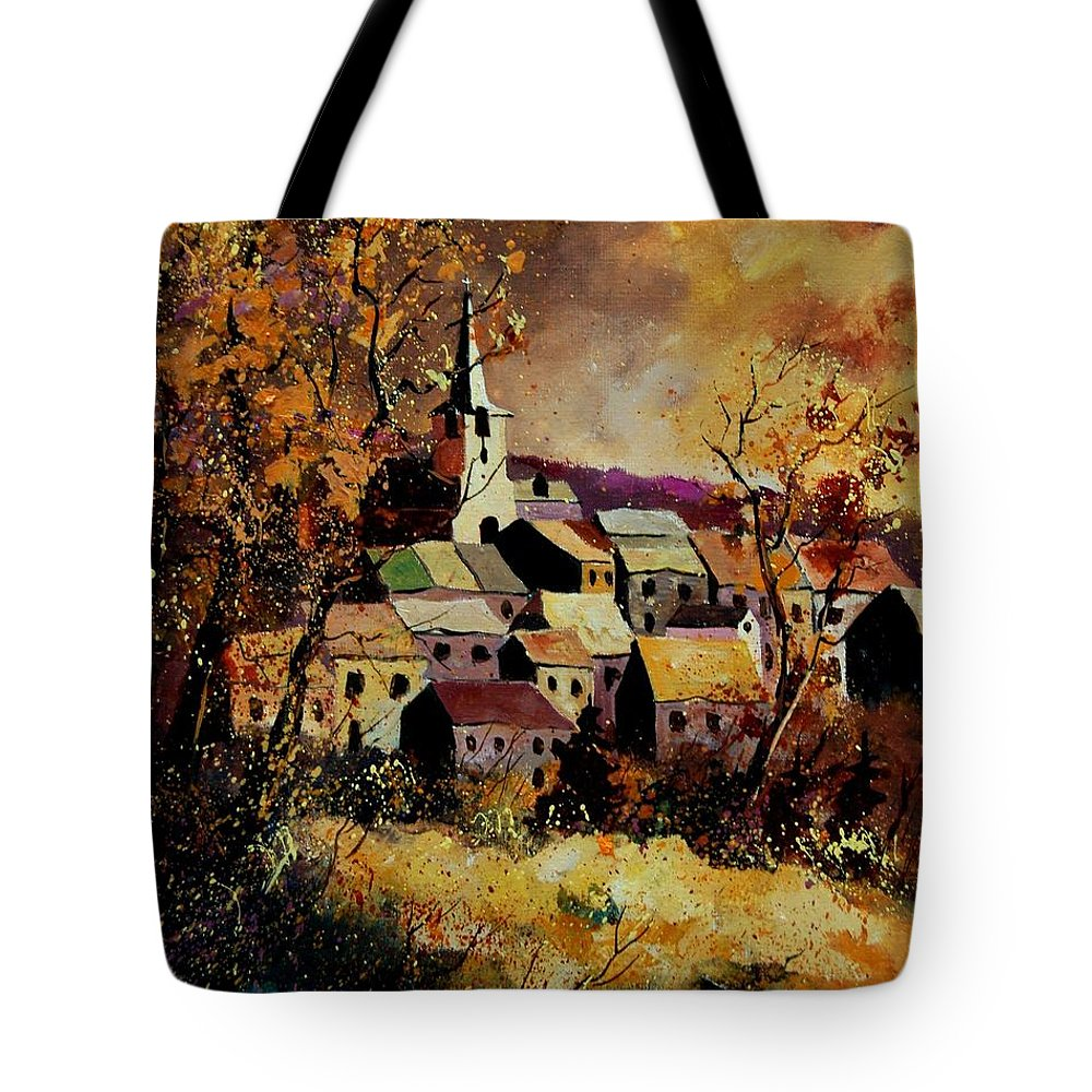 River Tote Bag featuring the painting Village In Fall by Pol Ledent