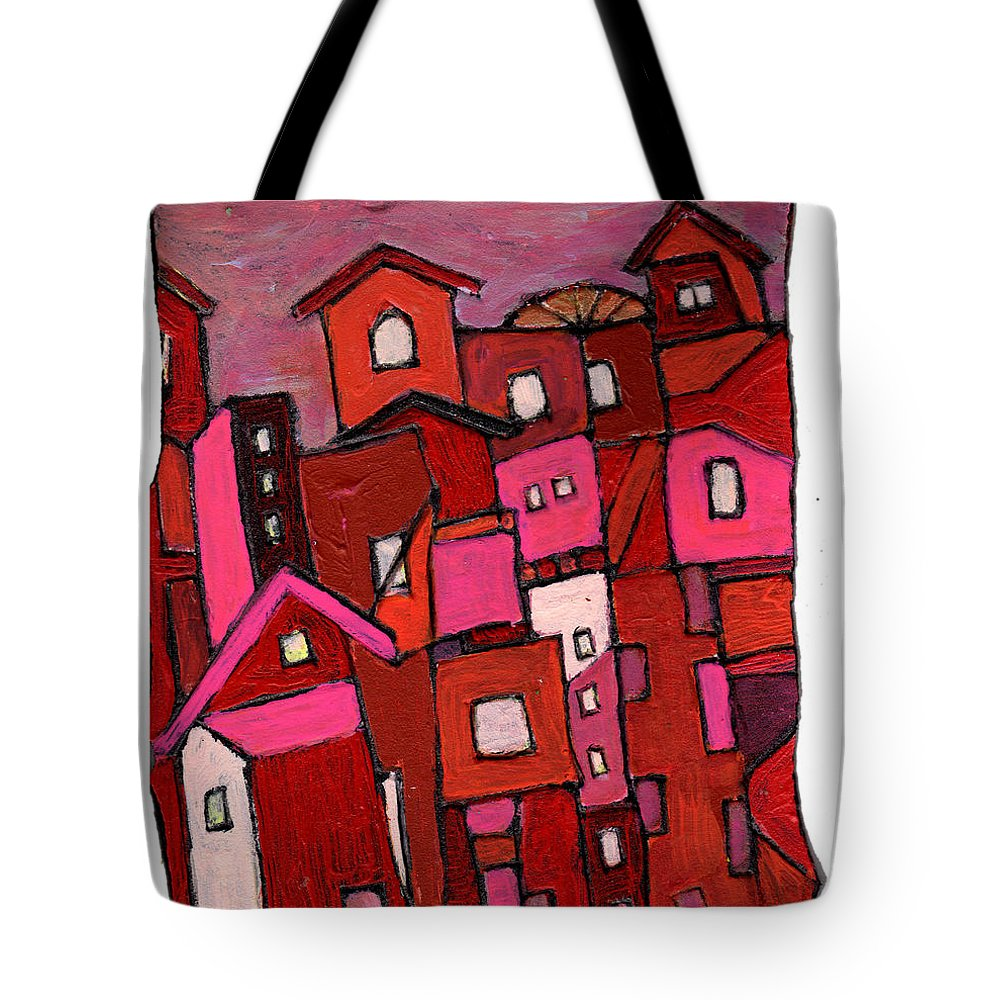Village Tote Bag featuring the painting Village In Pink by Wayne Potrafka