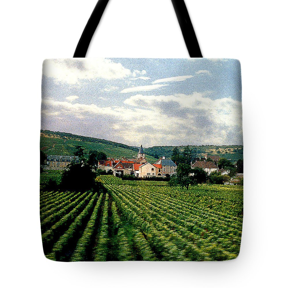 Vineyards Tote Bag featuring the photograph Village In The Vineyards Of France by Nancy Mueller
