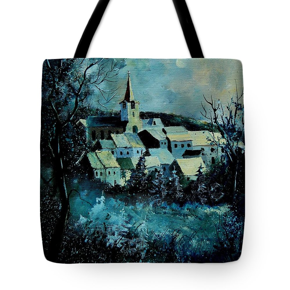 River Tote Bag featuring the painting Village in winter by Pol Ledent