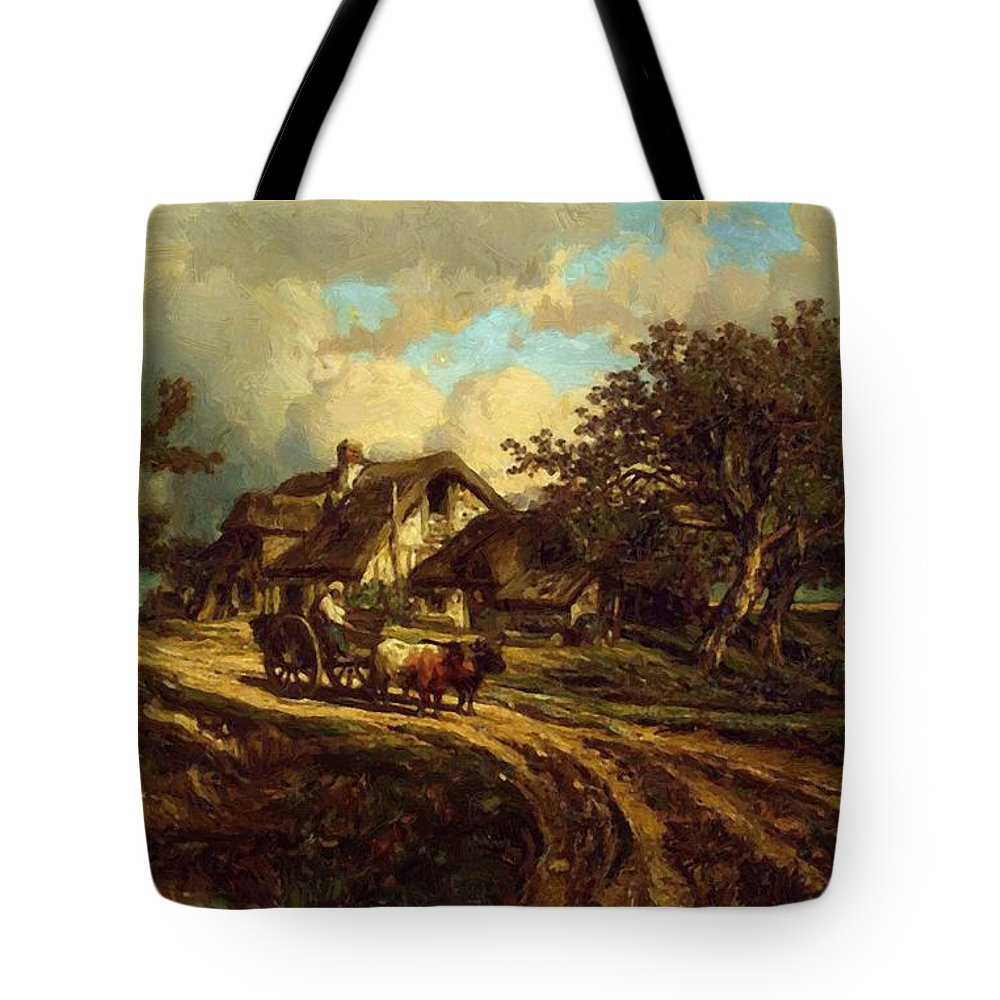 Village Tote Bag featuring the painting Village Landscape 1844 by Dupre Jules
