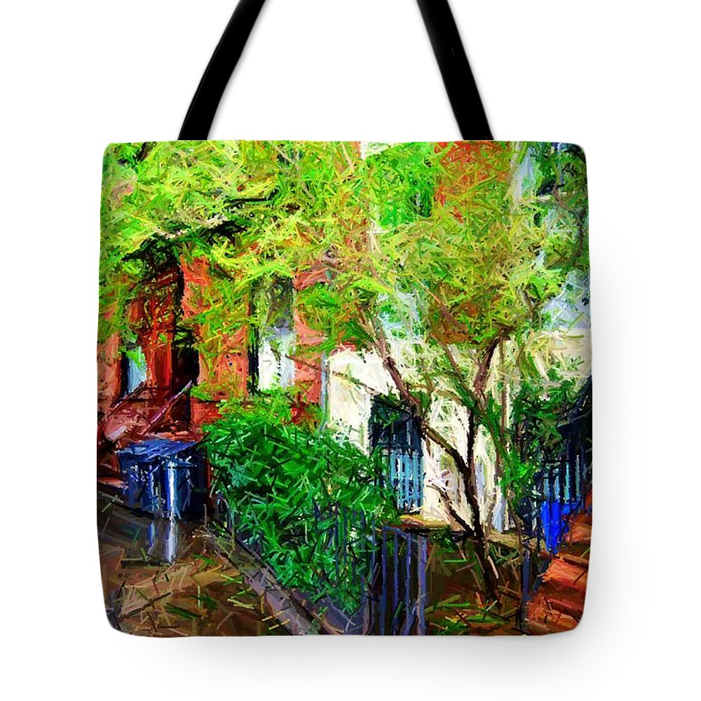 Greenwich Village Tote Bag featuring the digital art Village Life Sketch by Randy Aveille