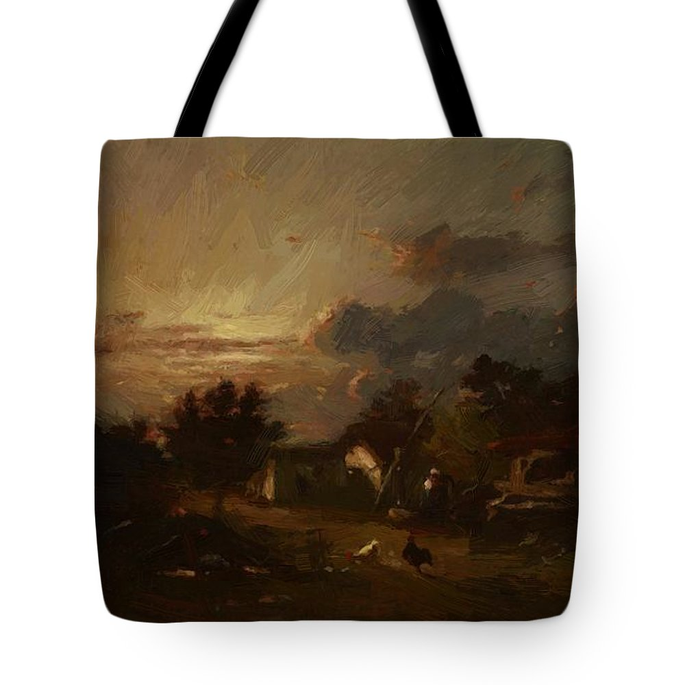 Village Tote Bag featuring the painting Village Scene Sunset 1870 by Dupre Jules