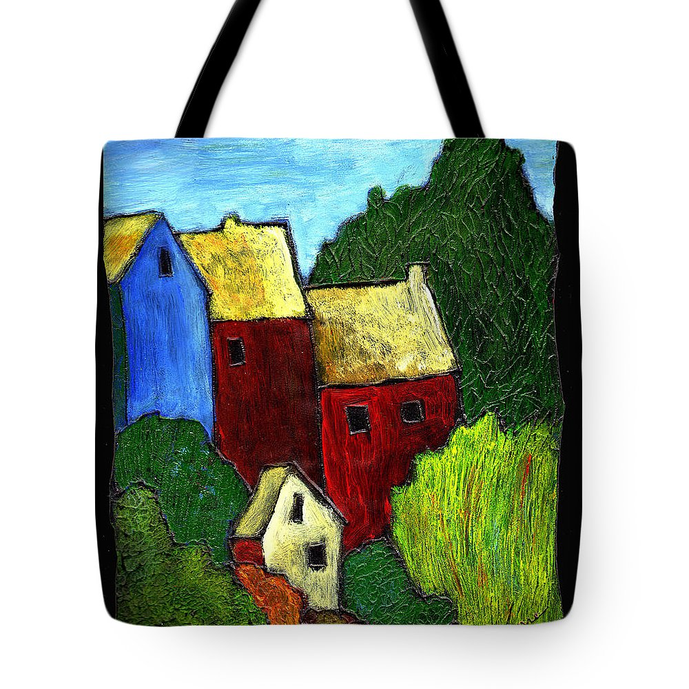 Village Tote Bag featuring the painting Village Scene by Wayne Potrafka