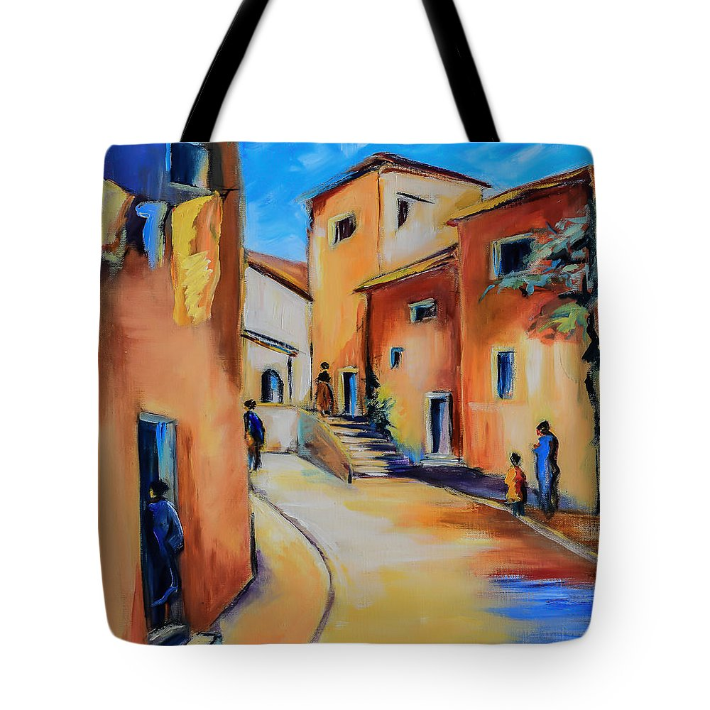 Mediterranean Tote Bag featuring the painting Village Street In Tuscany by Elise Palmigiani