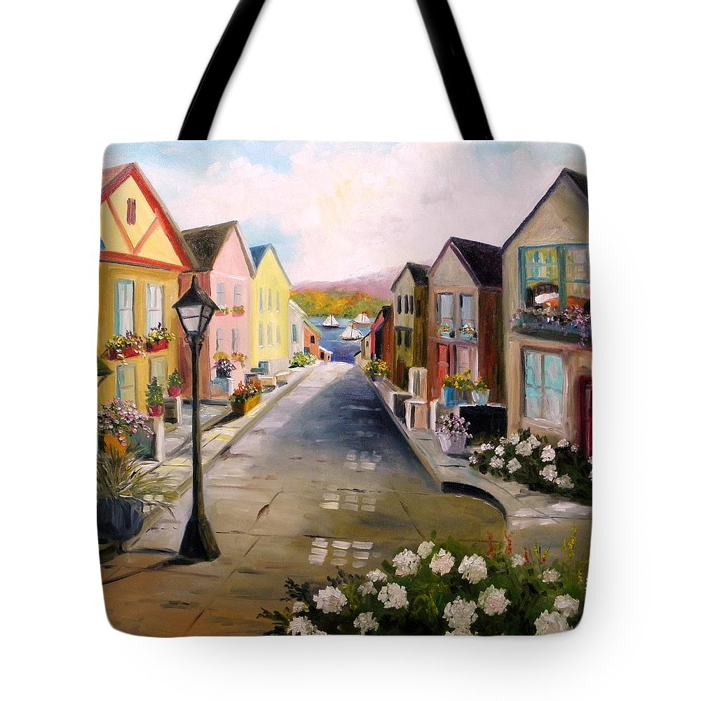 Village Tote Bag featuring the painting Village Street by John Williams