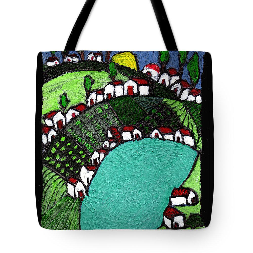Village Tote Bag featuring the painting Villlage By The Pond by Wayne Potrafka