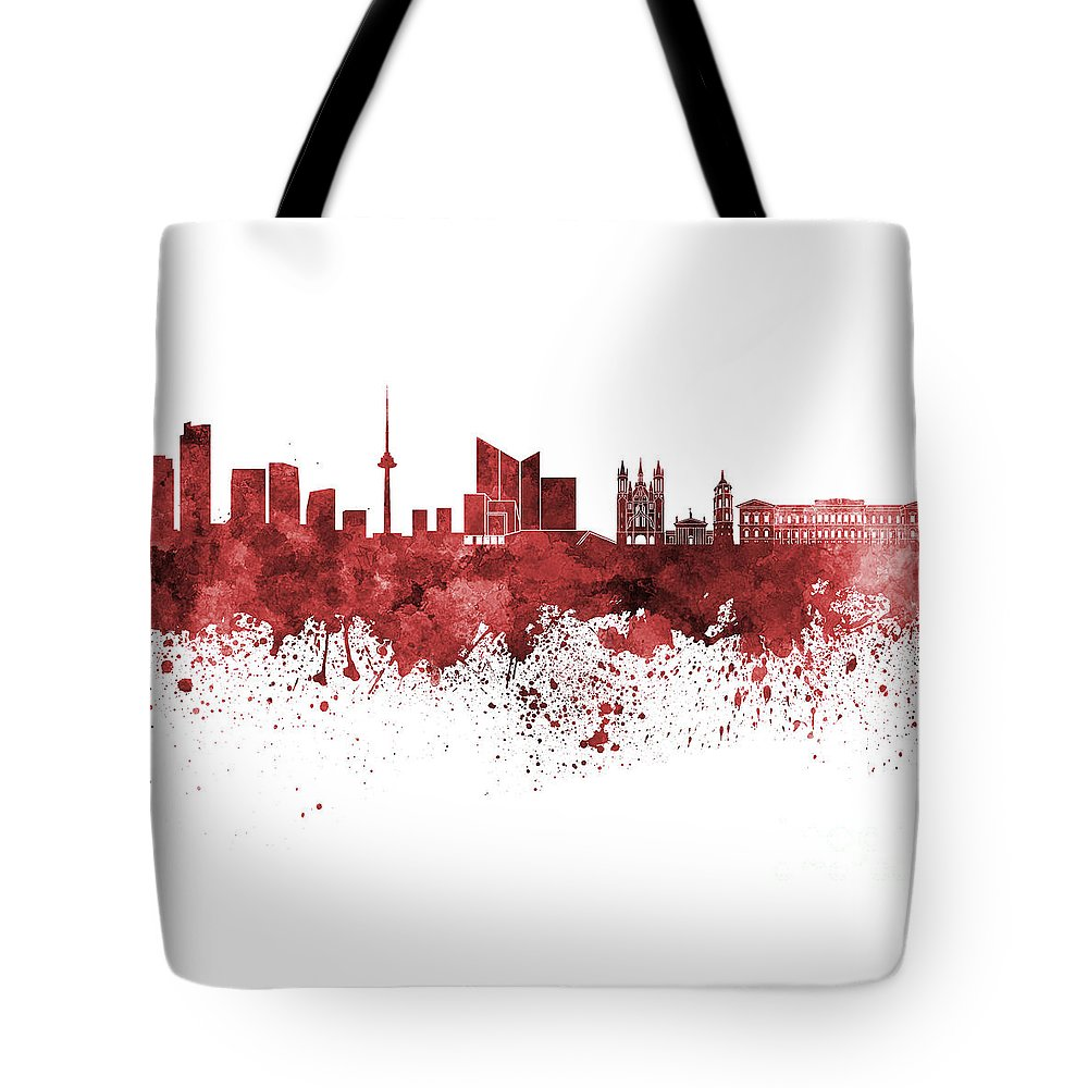Vilnius Tote Bag featuring the painting Vilnius Skyline In Green Watercolor On White Background by Pablo Romero