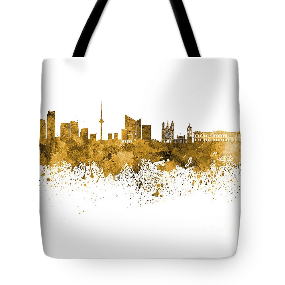 Vilnius Tote Bag featuring the painting Vilnius Skyline In Orange Watercolor On White Background by Pablo Romero