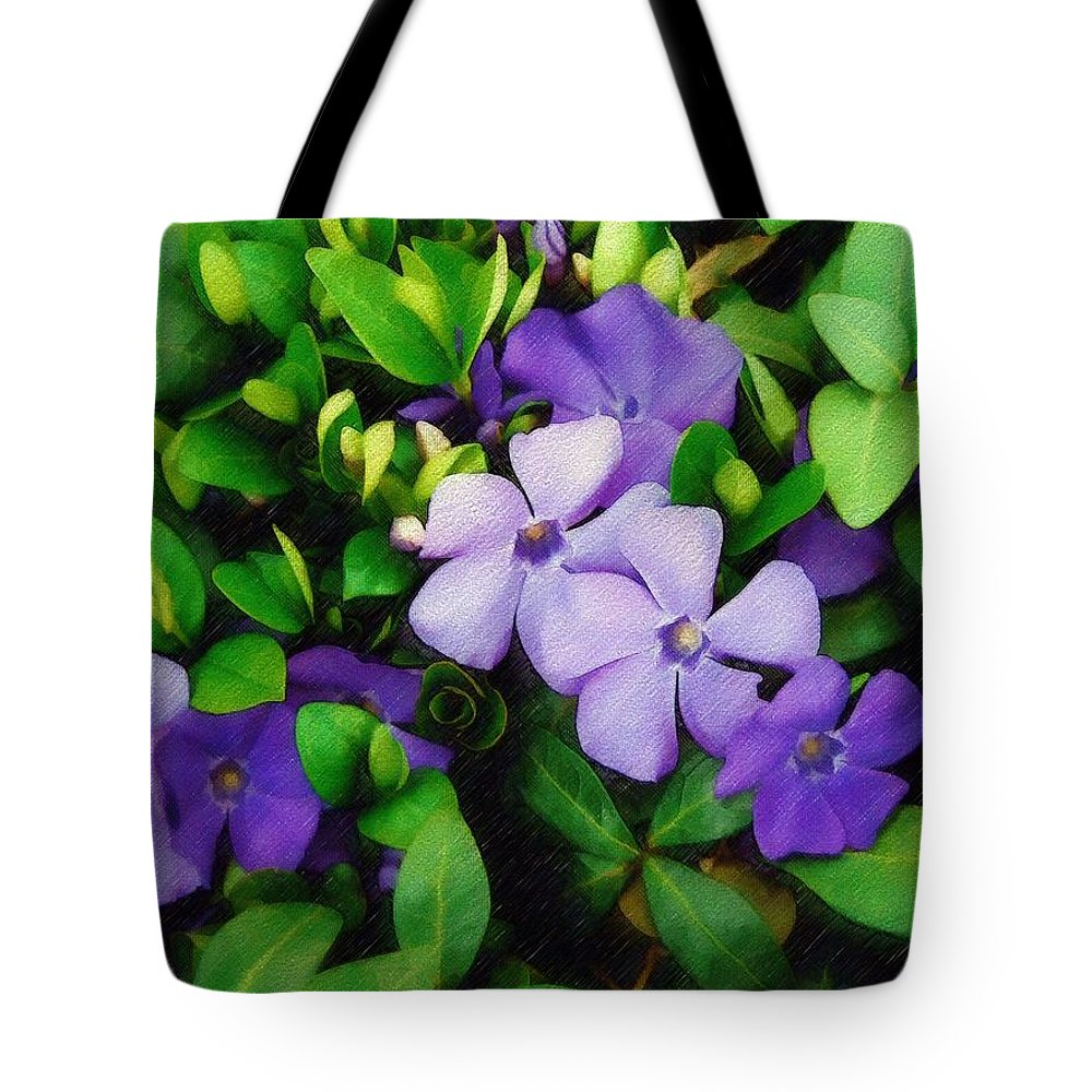 Vinca Tote Bag featuring the photograph Vinca by Sandy MacGowan