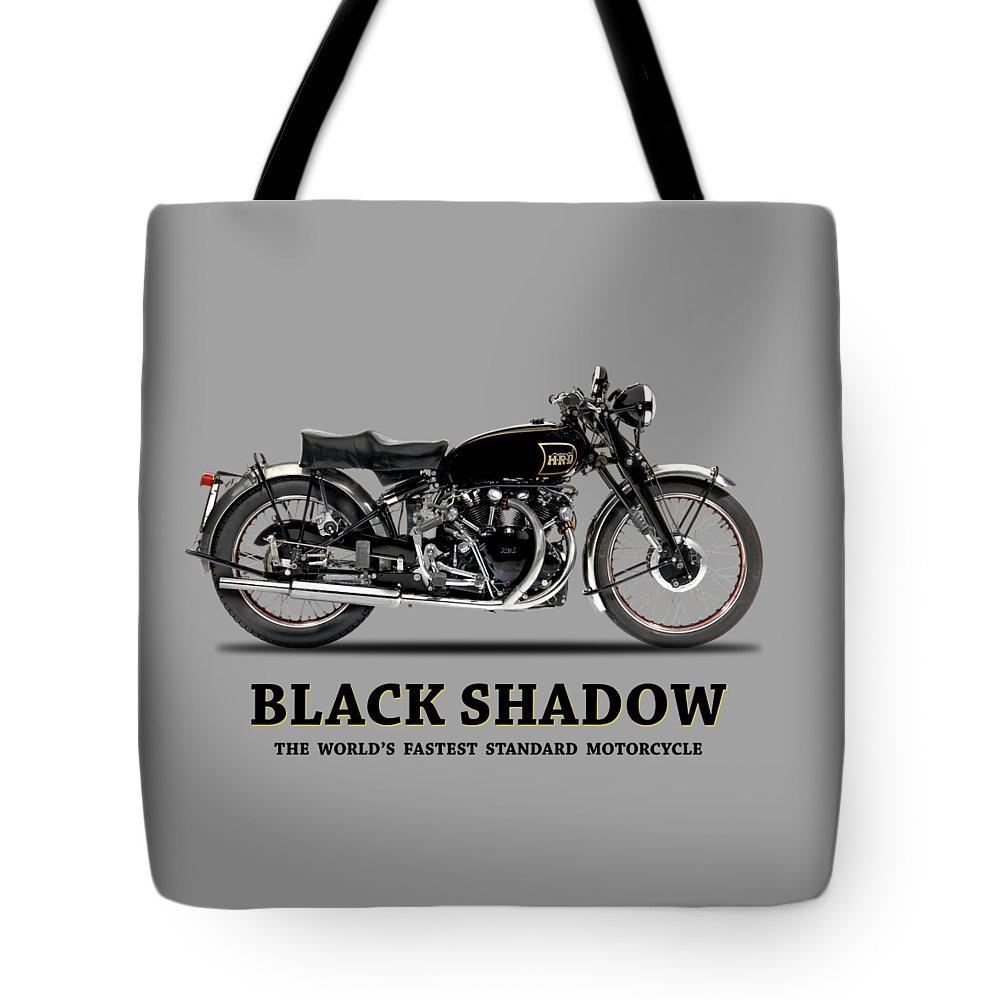 Vincent Black Shadow Tote Bag featuring the photograph Vincent Black Shadow by Mark Rogan