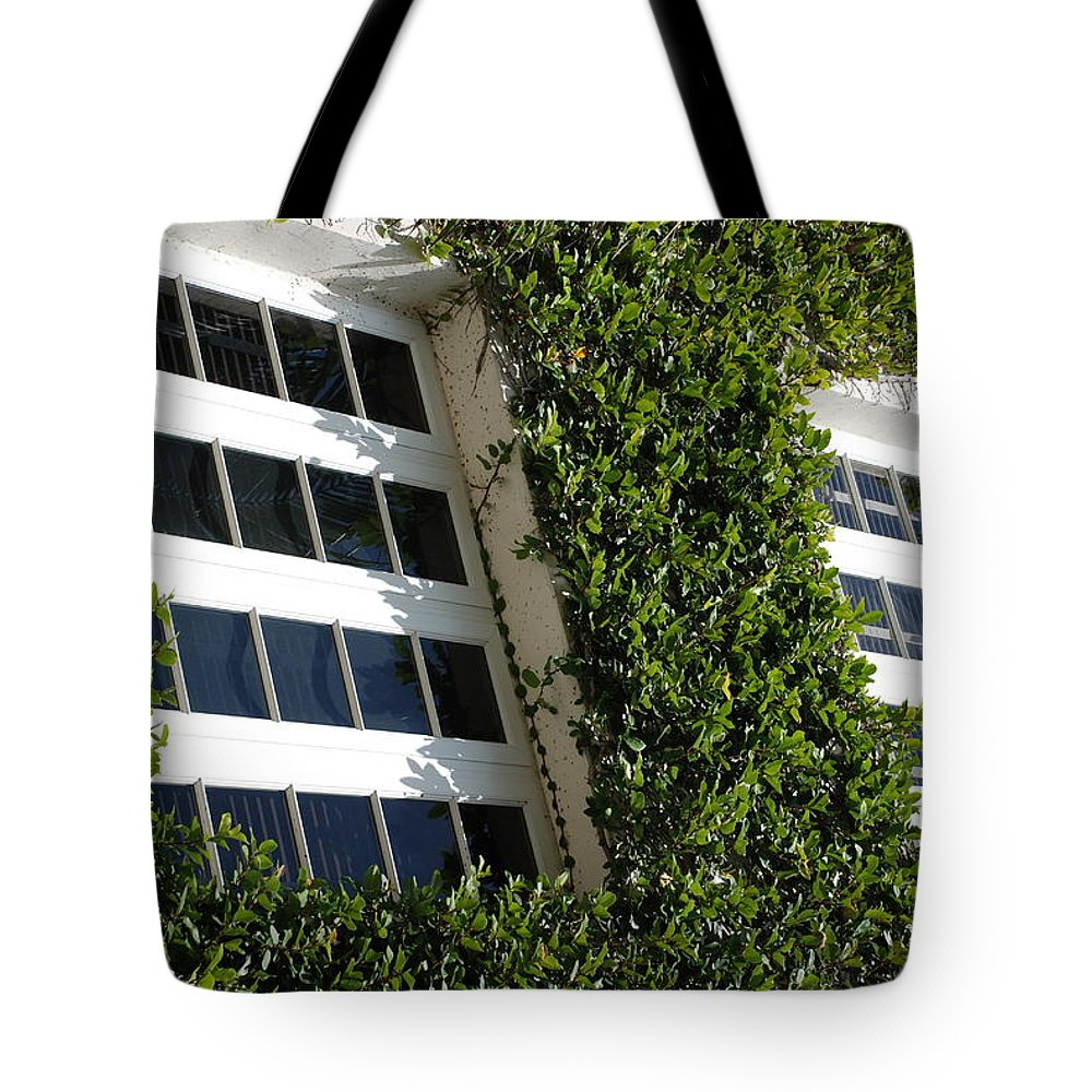 Architecture Tote Bag featuring the photograph Vines And Glass by Rob Hans