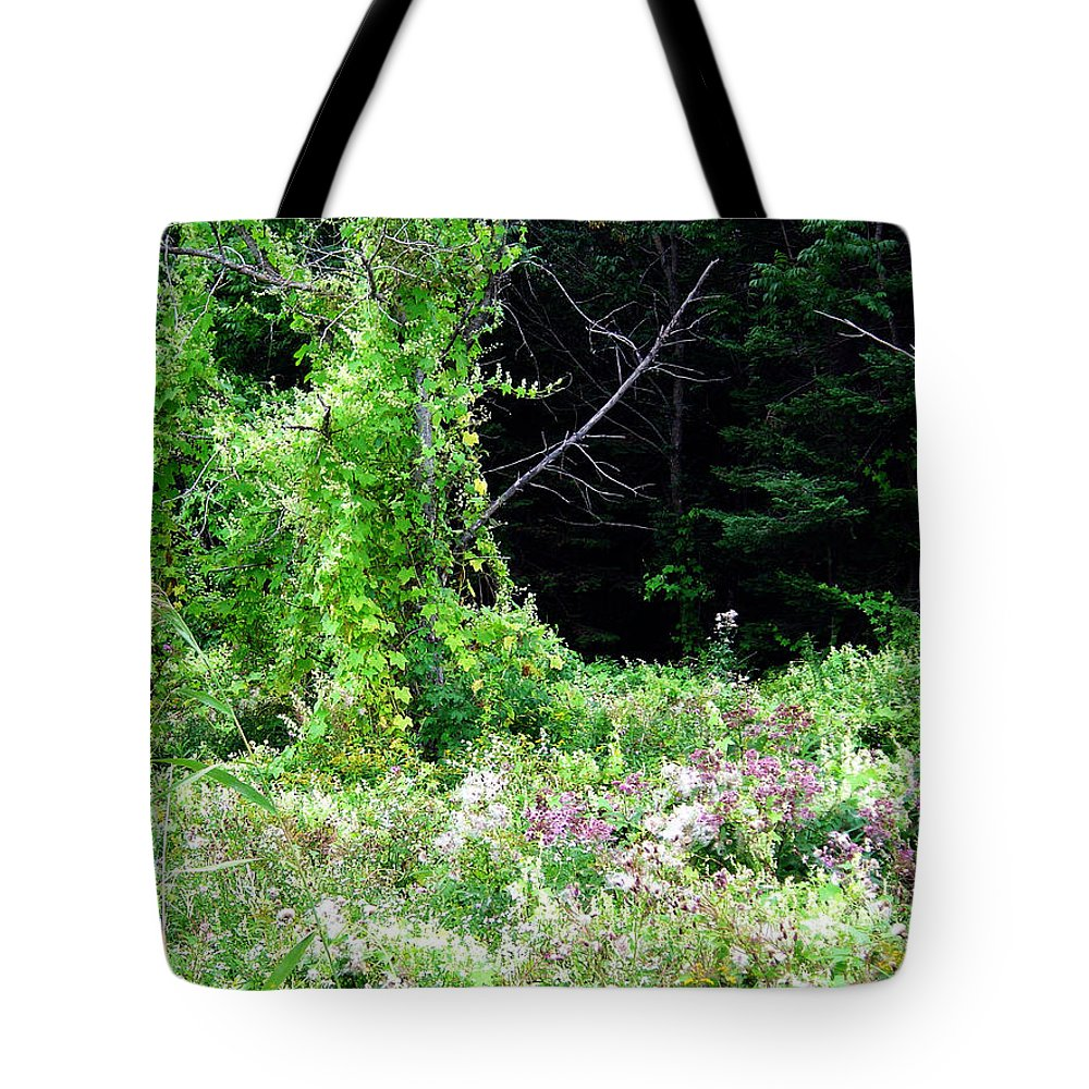 Vines Growth Near Pine Falls Manitoba Tote Bag featuring the photograph Vines by Joanne Smoley