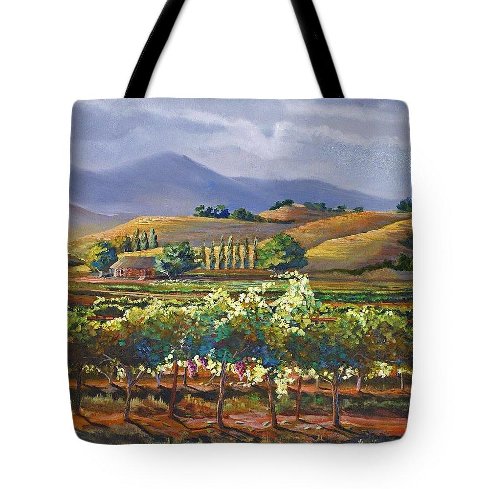 Vineyard Tote Bag featuring the painting Vineyard In California by Heather Coen