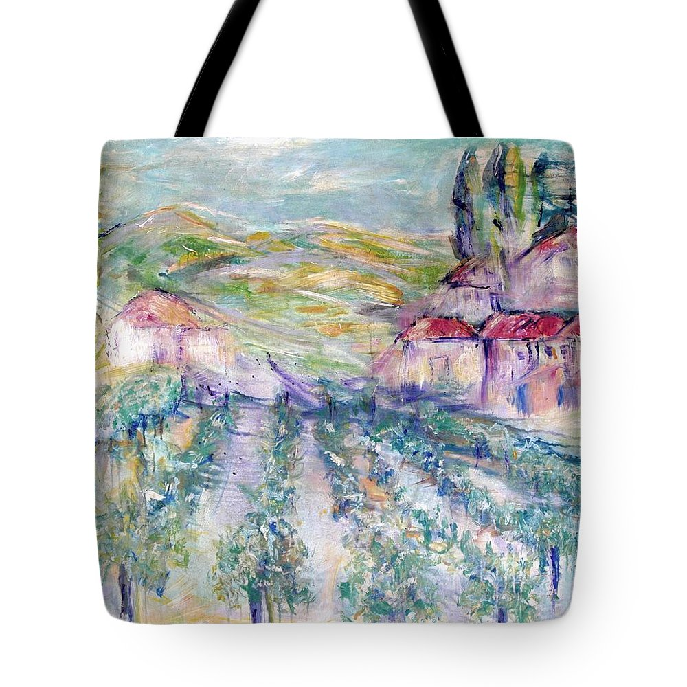 Vineyard Tote Bag featuring the painting Vineyard by Jeanie Watson