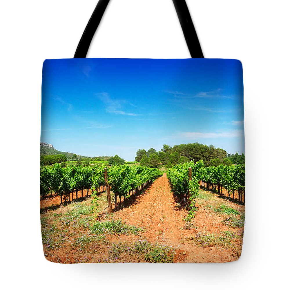 Vineyard Tote Bag featuring the photograph Vineyard Rows by Anastasy Yarmolovich